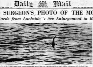 The-Surgeons-Photograph-most-famous-photo-Loch-Ness-Monster-Daily-Mail-newspaper-headline-1934-black-white-lake-photograph